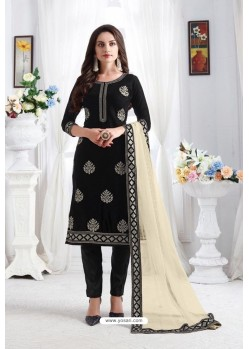 Black Georgette Party Wear Straight Suit