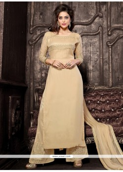 Extraordinary Embroidered Work Beige Georgette Designer Palazzo Salwar Kameez