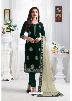 Dark Green Georgette Party Wear Straight Suit