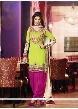 Lime Green And Magenta Georgette Punjabi Suit
