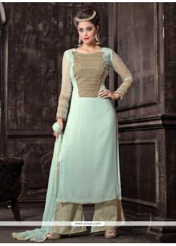 Stunning Georgette Blue Designer Palazzo Salwar Kameez