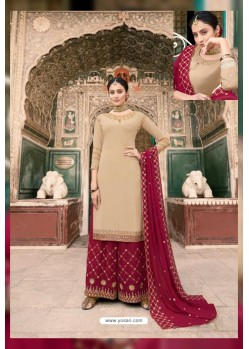 Light Beige And Maroon Soft Georgette Embroidered Palazzo Suit