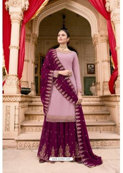 Mauve And Violet Soft Georgette Embroidered Palazzo Suit
