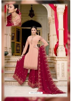 Baby Pink And Maroon Soft Georgette Embroidered Palazzo Suit