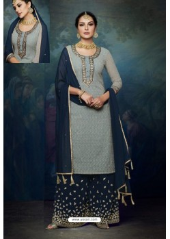 Grey And Navy Georgette Designer Palazzo Suit