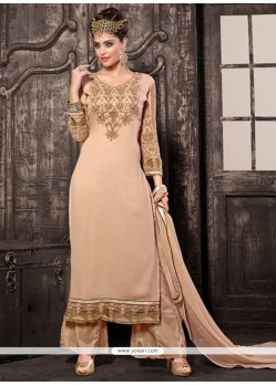 Intriguing Cream Resham Work Designer Palazzo Suit