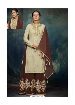 Coffee And Tusser Georgette Designer Palazzo Suit