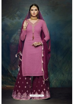 Hot Pink And Wine Georgette Designer Palazzo Suit