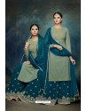 Teal Blue And Green Georgette Designer Palazzo Suit