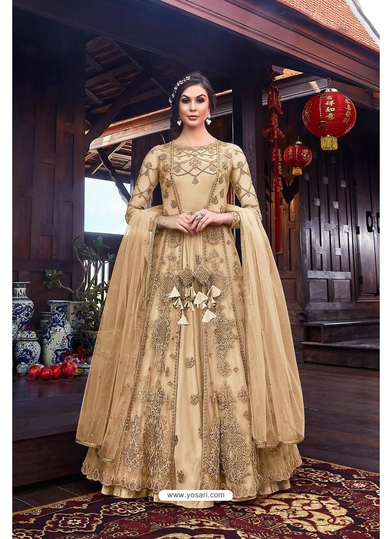 Light Beige Premium Net Designer Anarkali Suit