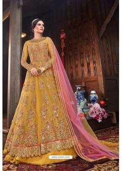 Yellow Butterfly Net Designer Anarkali Suit