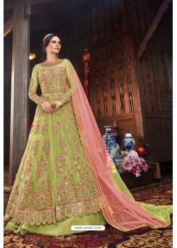 Green Butterfly Net Designer Anarkali Suit