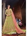 Green Butterfly Net Designer Anarkali Suit
