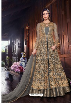 Grey Butterfly Net Designer Anarkali Suit