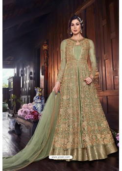 Pretty Green Butterfly Net Designer Anarkali Suit