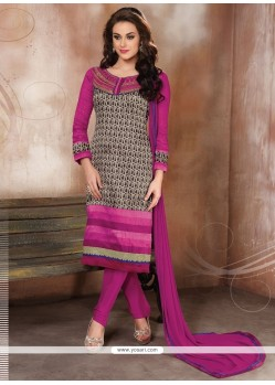 Sensible Hot Pink Raw Silk Churidar Designer Suit