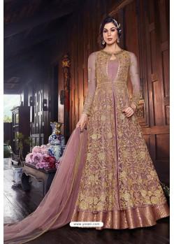 Splendid Pink Butterfly Net Designer Anarkali Suit