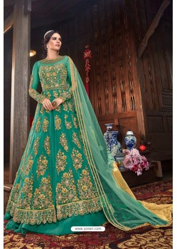 Aqua Mint Butterfly Net Designer Anarkali Suit