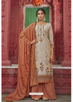 Old Rose And Cream Maslin Digital Print Palazzo Suit