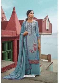 Sky Blue Maslin Digital Print Palazzo Suit