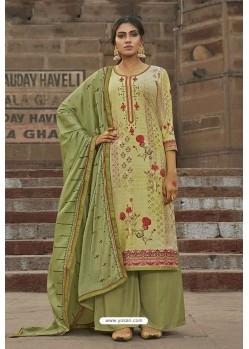 Green Maslin Digital Print Palazzo Suit
