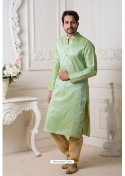 Sea Green And Beige Mulbary Butti Silk Kurta Pajama