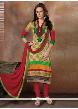 Tempting Multi Colour Resham Work Churidar Designer Suit