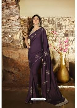 Purple Barfi Silk Designer Saree
