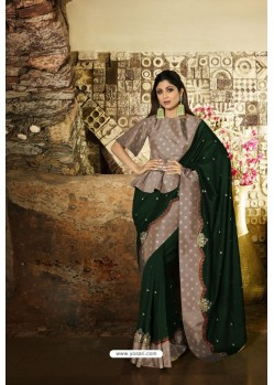 Dark Green And Grey Barfi Silk Designer Saree