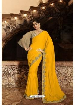 Yellow Barfi Silk Designer Saree