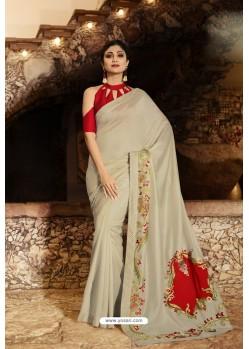 Taupe Barfi Silk Designer Saree