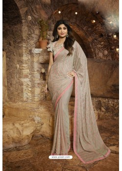 Light Grey Barfi Silk Designer Saree