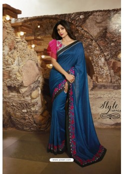 Peacock Blue Barfi Silk Designer Saree