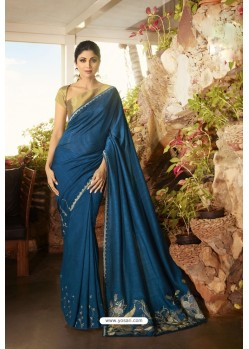 Teal Blue Barfi Silk Designer Saree