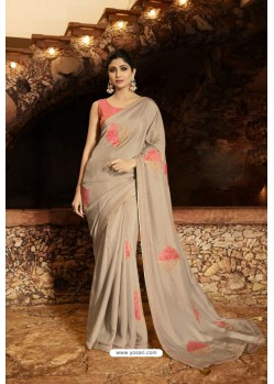 Latest Taupe Barfi Silk Designer Saree