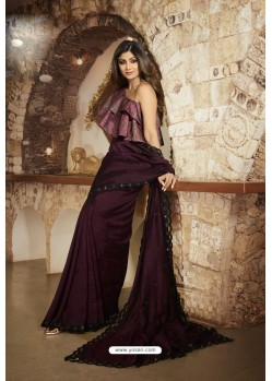 Deep Wine Barfi Silk Designer Saree