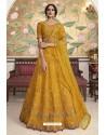 Yellow Net Embroidered Designer Lehenga Choli