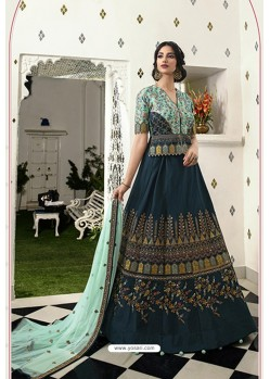 Navy And Sky Blue Silk Embroidered Designer Lehenga Choli