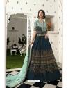 Navy And Sky Blue Silk Embroidered Designer Lehenga Choli