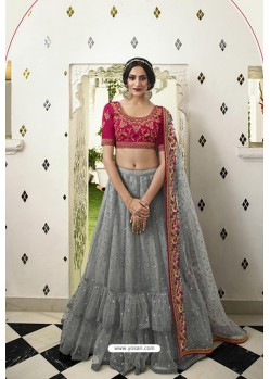 Grey And Pink Silk Embroidered Designer Lehenga Choli