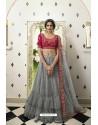 Grey And Pink Silk Embroidered Designer Lehenga Choli