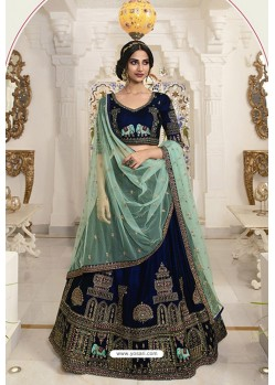 Beautiful Navy Blue Velvet Embroidered Designer Lehenga Choli