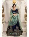 Beautiful Navy Blue Velvet Embroidered Designer Lehenga Choli