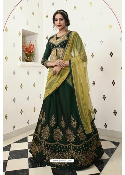 Dark Green Silk Embroidered Designer Lehenga Choli
