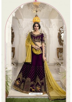 Purple Silk Embroidered Designer Lehenga Choli