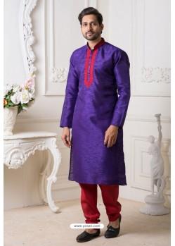 Violet And Red Mysore Silk Kurta Pajama