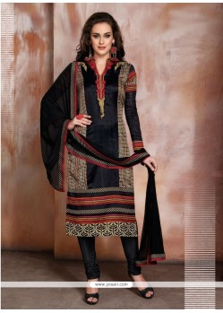 Divine Raw Silk Black Resham Work Churidar Designer Suit