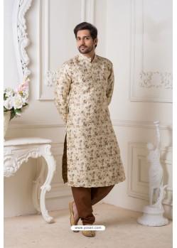 Cream And Brown Heavy Jaquard Kurta Pajama