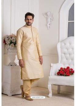 Cream Banarasi Dupion Kurta Pajama