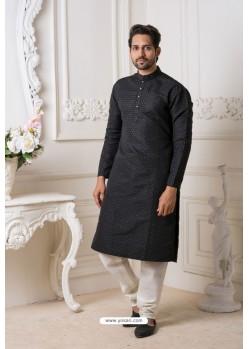 Black And White Heavy Jaquard Kurta Pajama